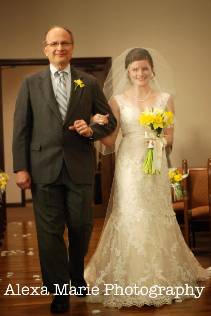 bride & her father at wedding ceremony