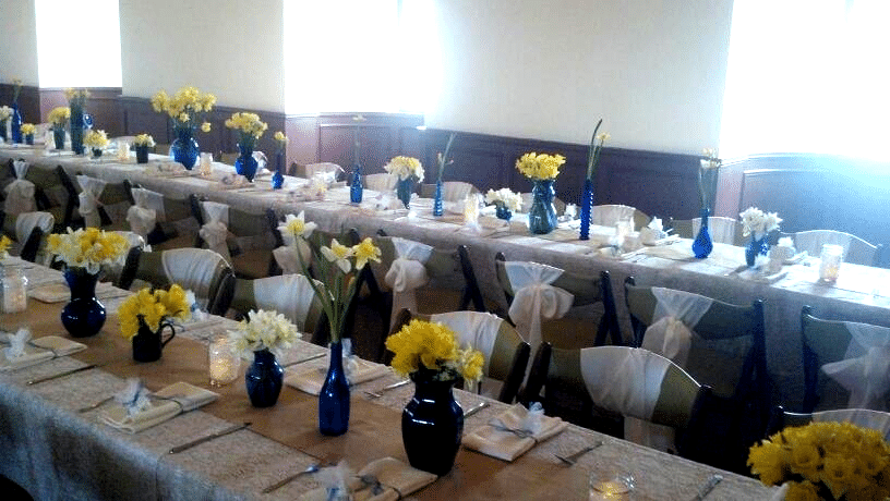 daffodils on reception tables