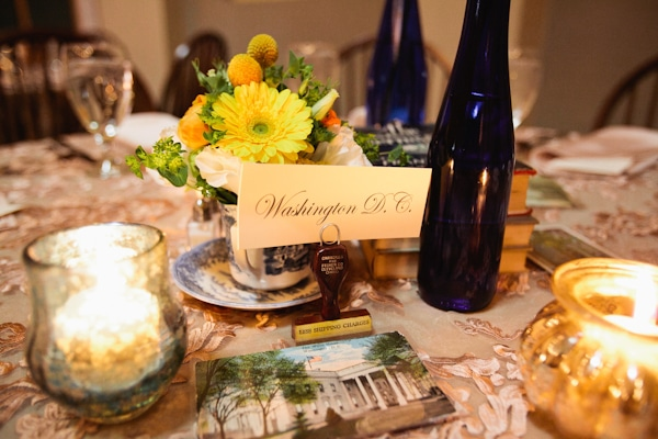 Vintage-Travel Themed Wedding Centerpiece