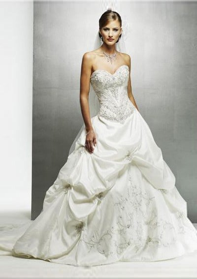 wedding gown dress with basque or drop waist