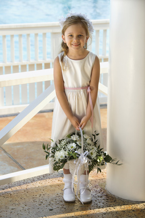 flower girl with basket of flowers