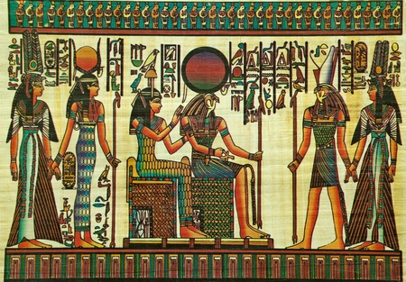 egyptian papyrus painting with elements of egyptian ancient history