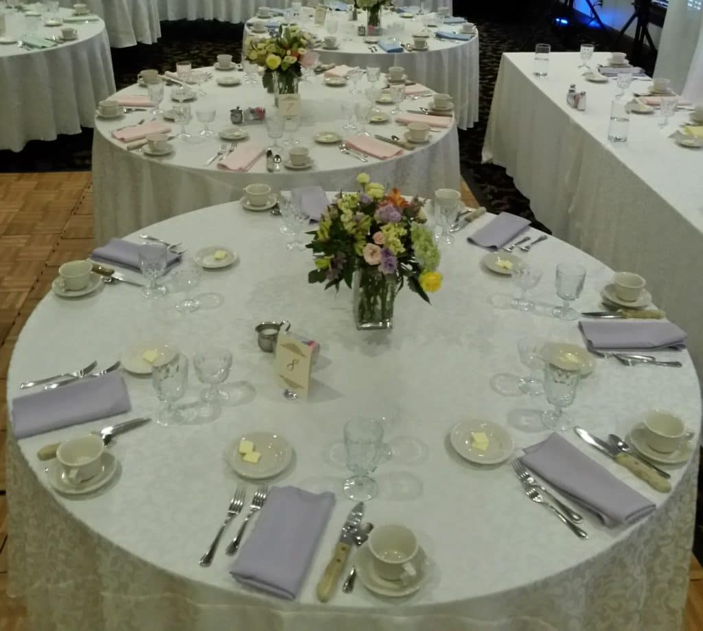 pastel flowers & linens for wedding reception