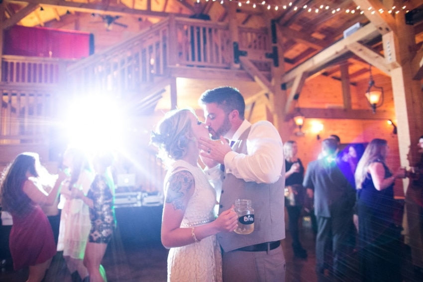 rustic wedding reception in a barn