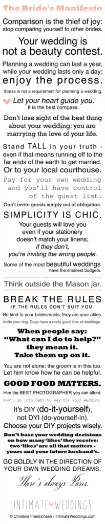 the brides manifesto from intimate weddings