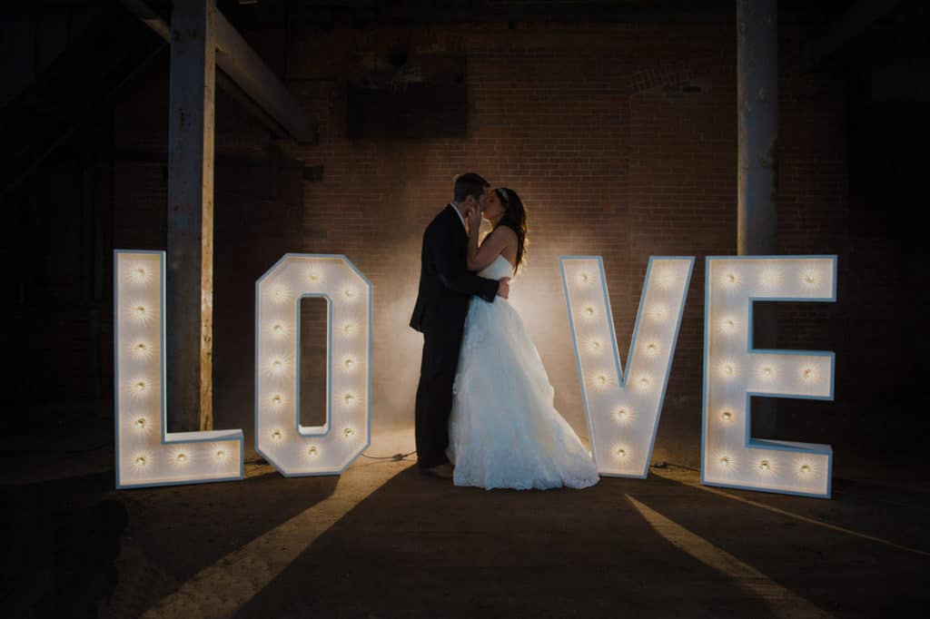 Wedding marquee lights - L O V E