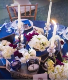 blue table linens