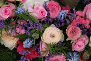 pink roses, ranunculus, grape hyacinths